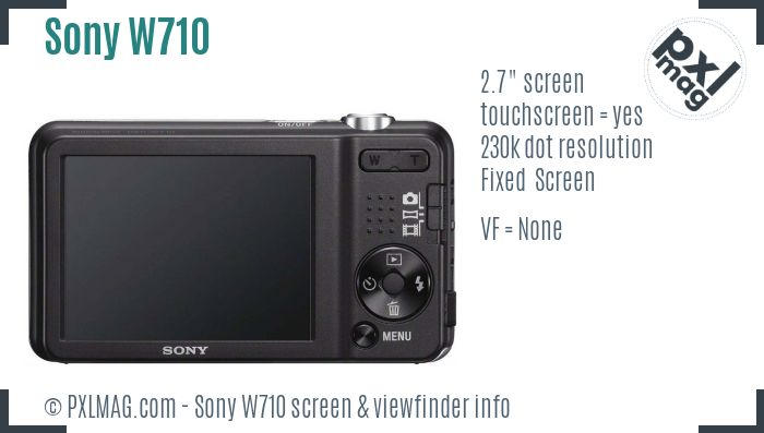 Sony Cyber-shot DSC-W710 screen and viewfinder