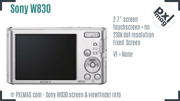 Sony Cyber-shot DSC-W830 screen and viewfinder