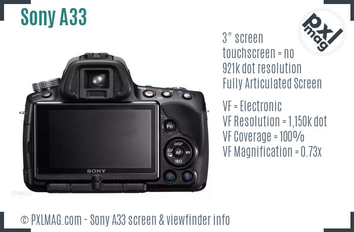 Sony SLT-A33 screen and viewfinder