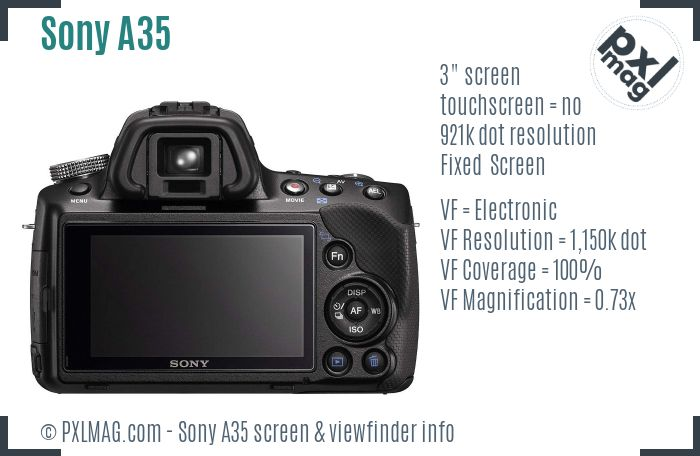 Sony SLT-A35 screen and viewfinder