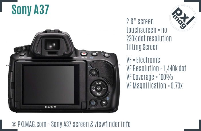 Sony SLT-A37 screen and viewfinder