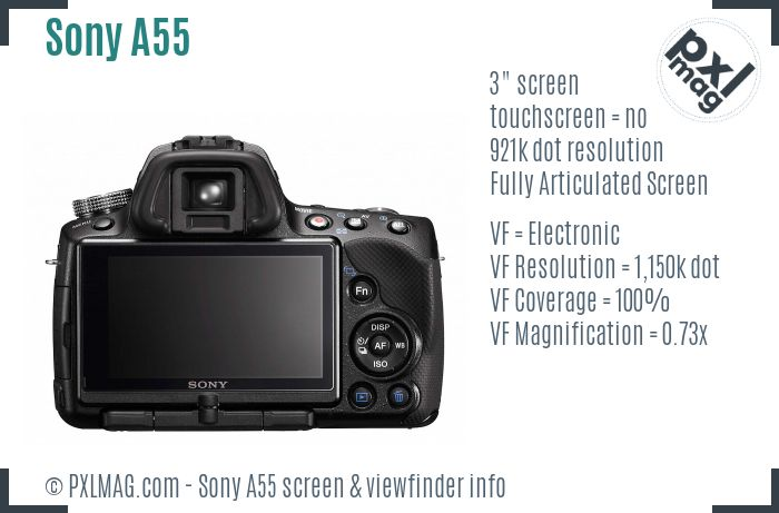Sony SLT-A55 screen and viewfinder