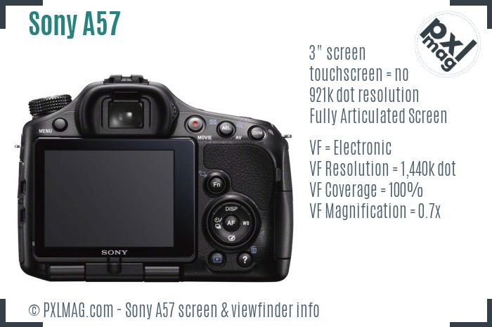 Sony SLT-A57 screen and viewfinder