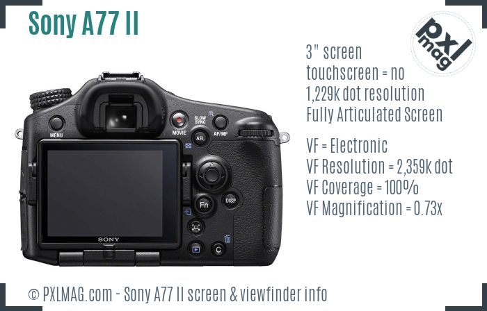 Sony SLT-A77 II screen and viewfinder