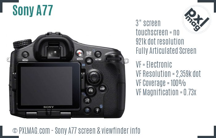 Sony SLT-A77 screen and viewfinder