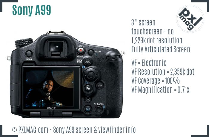 Sony SLT-A99 screen and viewfinder