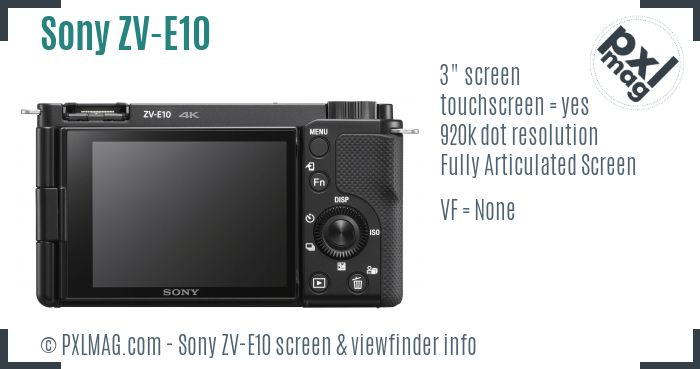Sony ZV-E10 screen and viewfinder