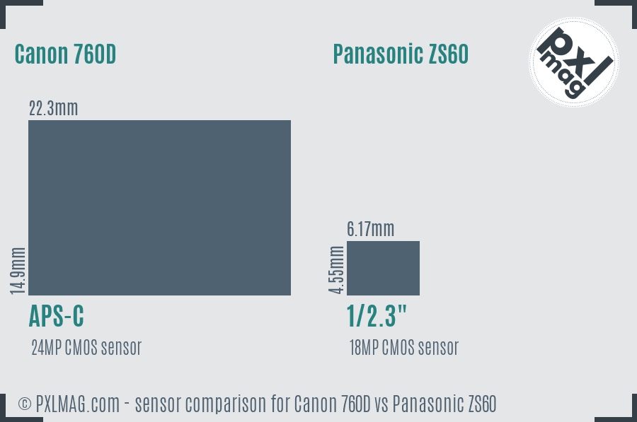 Canon 760D vs Panasonic ZS60 sensor size comparison