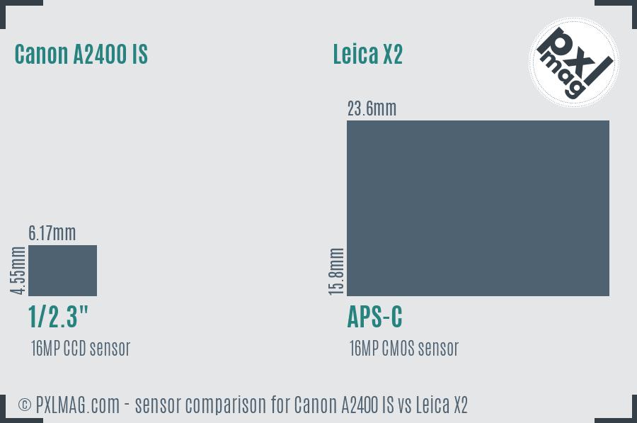 Canon A2400 IS vs Leica X2 sensor size comparison