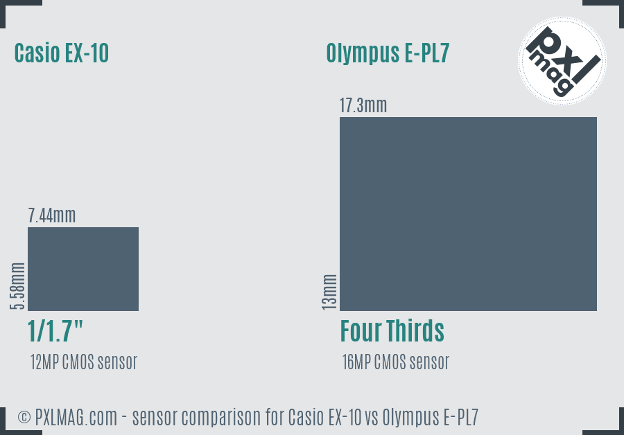 Casio EX-10 vs Olympus E-PL7 sensor size comparison