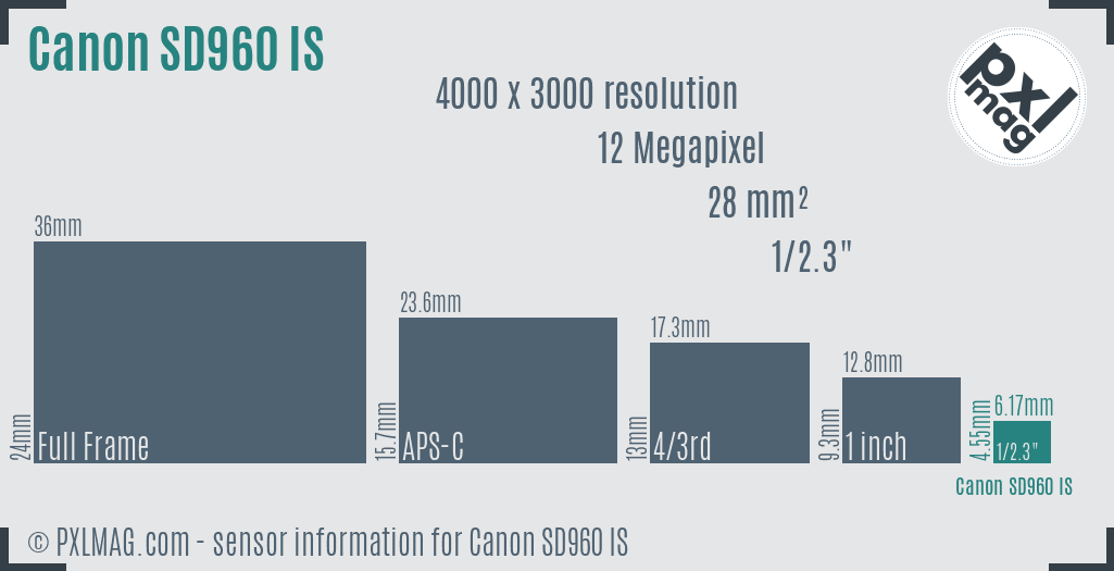 Canon PowerShot SD960 IS sensor size