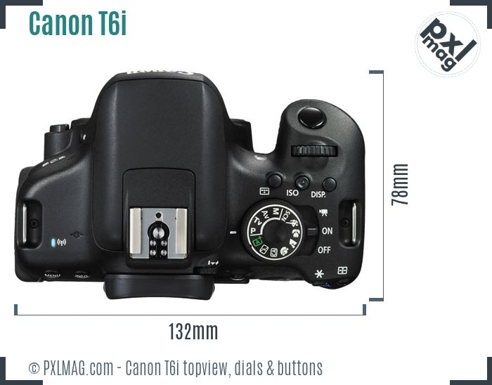 Canon EOS Rebel T6i topview buttons dials