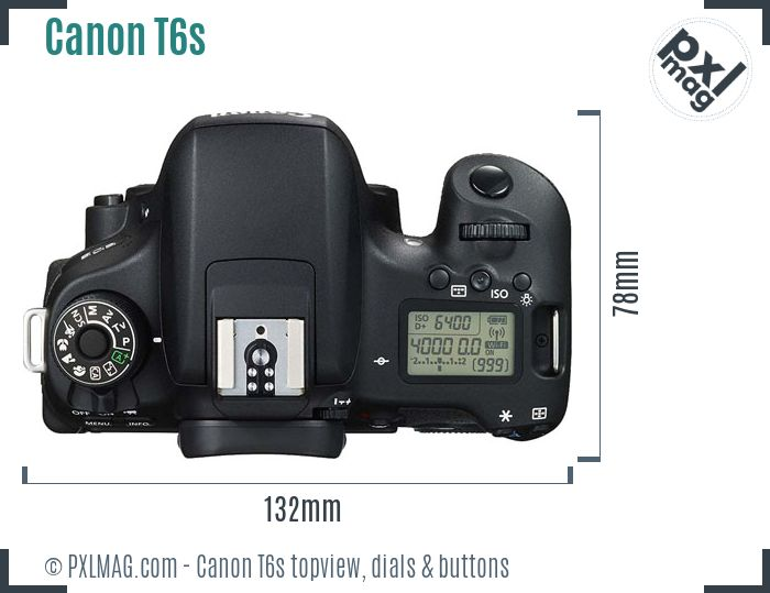 Canon EOS Rebel T6s topview buttons dials