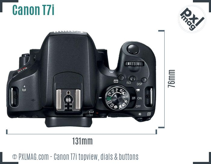 Canon EOS Rebel T7i topview buttons dials