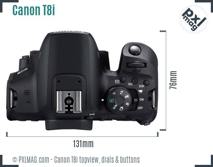 Canon EOS Rebel T8i topview buttons dials