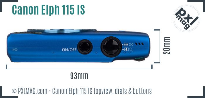 Canon Elph 115 IS topview buttons dials