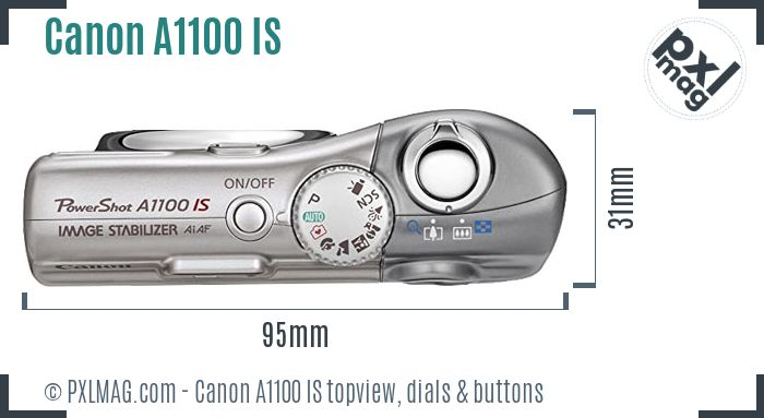 Canon PowerShot A1100 IS topview buttons dials