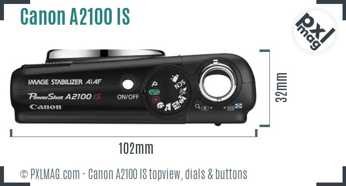 Canon PowerShot A2100 IS topview buttons dials