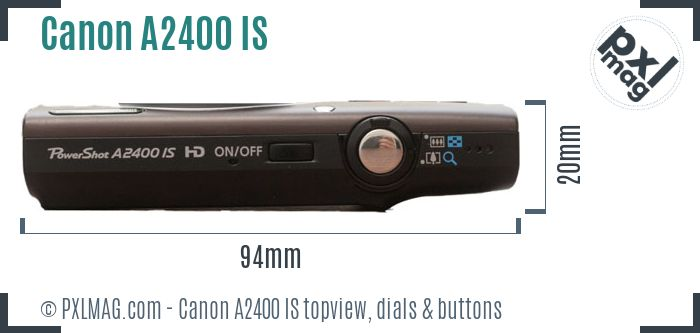 Canon PowerShot A2400 IS topview buttons dials
