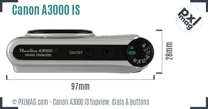 Canon PowerShot A3000 IS topview buttons dials