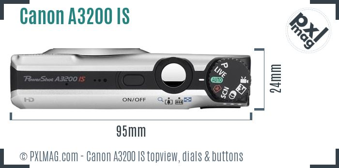 Canon PowerShot A3200 IS topview buttons dials