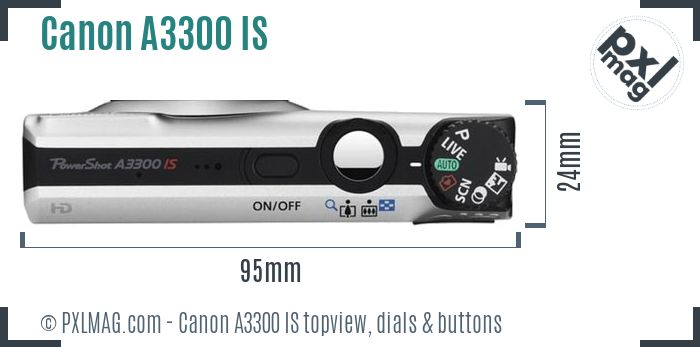 Canon PowerShot A3300 IS topview buttons dials
