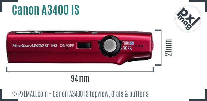 Canon PowerShot A3400 IS topview buttons dials