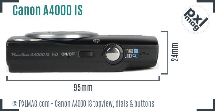 Canon PowerShot A4000 IS topview buttons dials