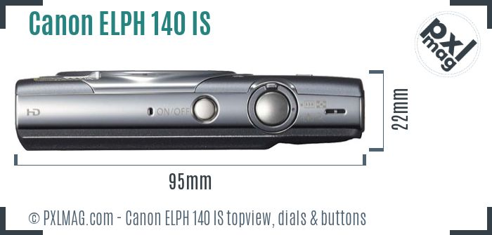 Canon PowerShot ELPH 140 IS topview buttons dials