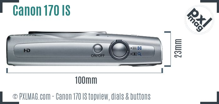 Canon PowerShot ELPH 170 IS topview buttons dials