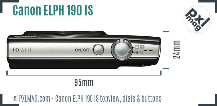 Canon PowerShot ELPH 190 IS topview buttons dials
