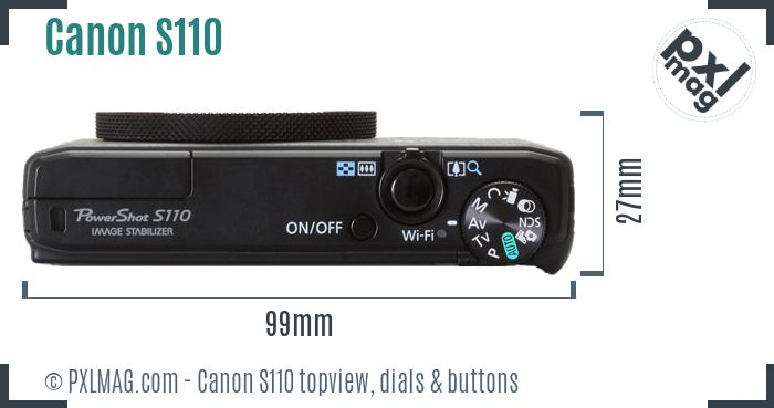 Canon PowerShot S110 topview buttons dials
