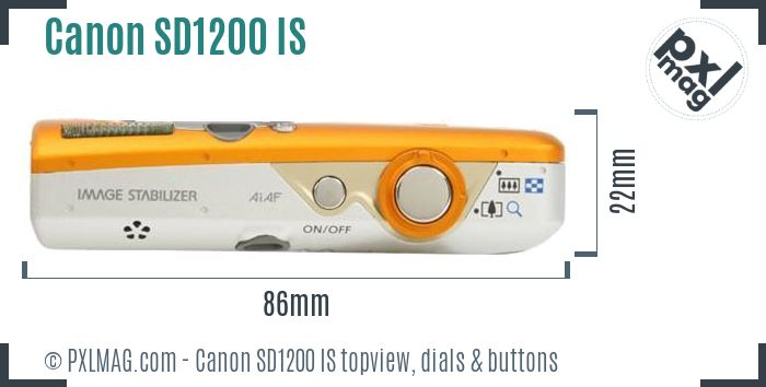 Canon PowerShot SD1200 IS topview buttons dials