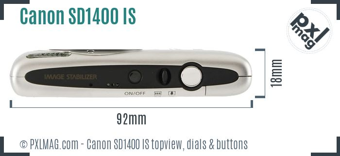 Canon PowerShot SD1400 IS topview buttons dials