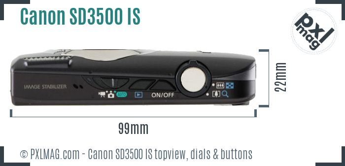Canon PowerShot SD3500 IS topview buttons dials