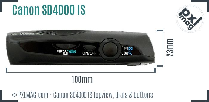 Canon PowerShot SD4000 IS topview buttons dials