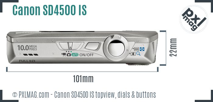 Canon PowerShot SD4500 IS topview buttons dials