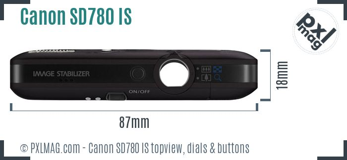 Canon PowerShot SD780 IS topview buttons dials