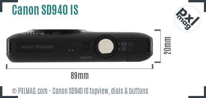 Canon PowerShot SD940 IS topview buttons dials