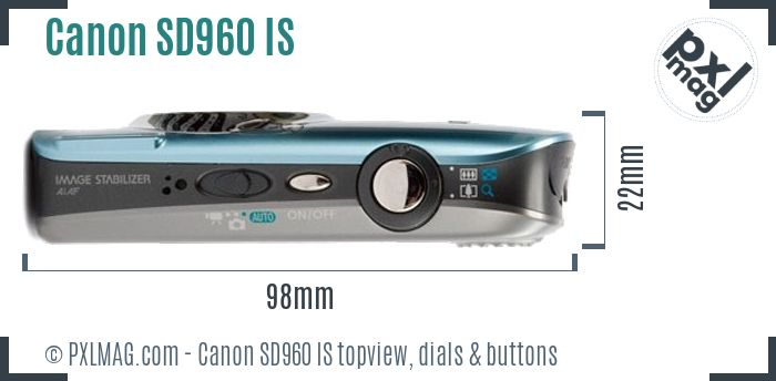 Canon PowerShot SD960 IS topview buttons dials