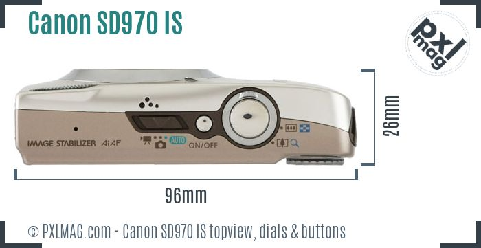 Canon PowerShot SD970 IS topview buttons dials