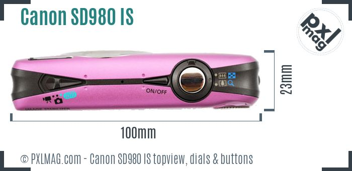 Canon PowerShot SD980 IS topview buttons dials