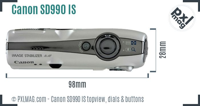 Canon PowerShot SD990 IS topview buttons dials