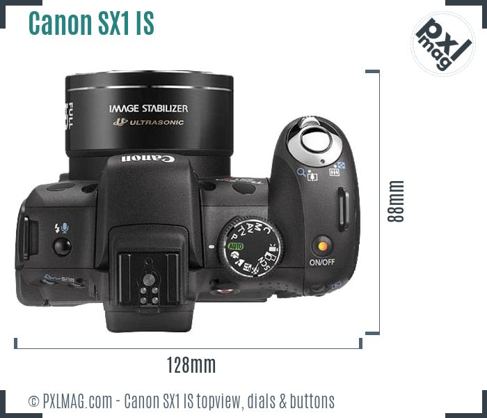 Canon PowerShot SX1 IS topview buttons dials