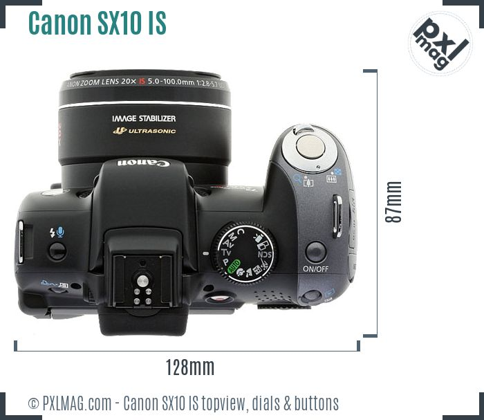 Canon PowerShot SX10 IS topview buttons dials
