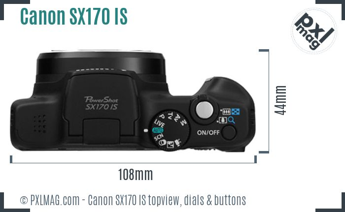 Canon PowerShot SX170 IS topview buttons dials