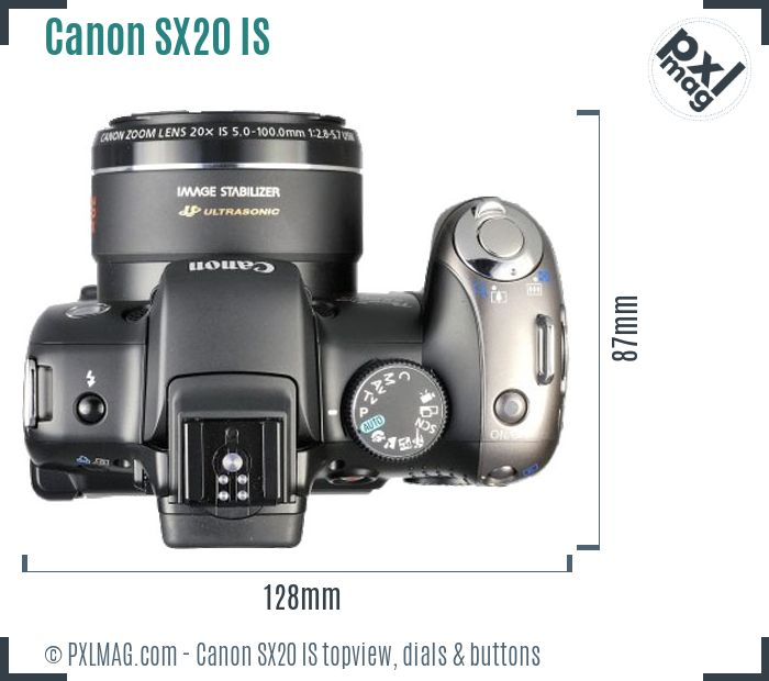 Canon PowerShot SX20 IS topview buttons dials