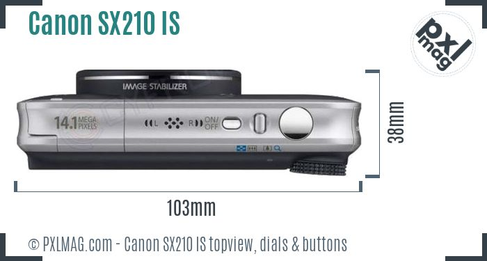 Canon PowerShot SX210 IS topview buttons dials