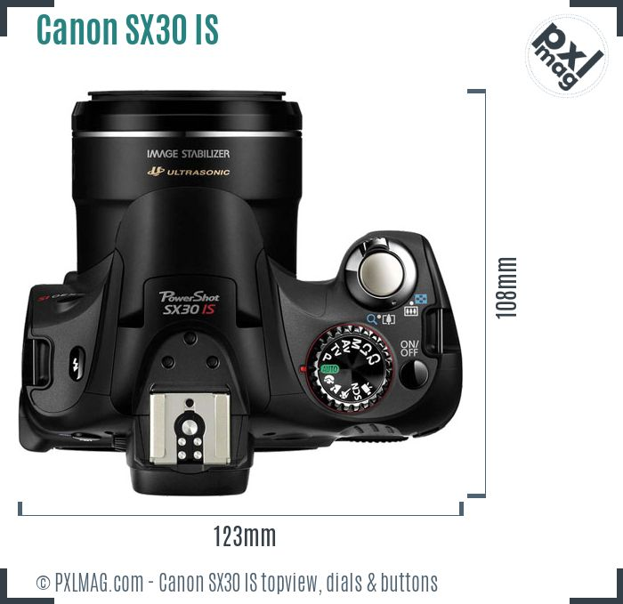 Canon PowerShot SX30 IS topview buttons dials