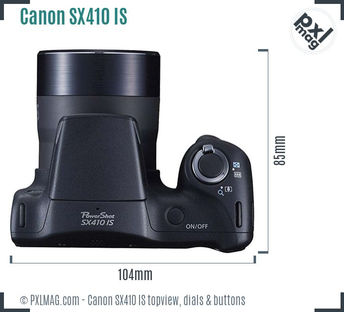 Canon PowerShot SX410 IS topview buttons dials